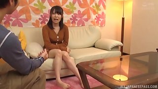 Pretty Japanese babe drops on her knees to kame him hard for sex