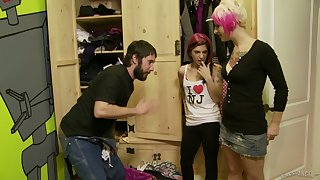 Pink haired slut Joanna Angel shares a dick with Jessie Lee
