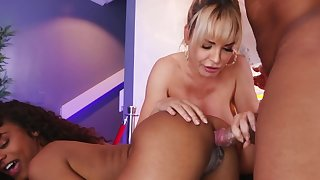 Divorced blonde MILF lured into group sex with Ebony couple