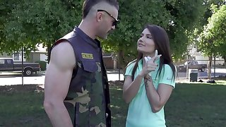 Dude with a massive dick fucks anorectic dour babe Adria Rae