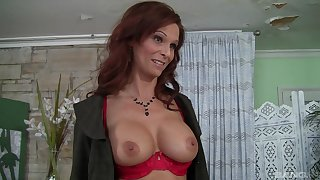 Syren De Mer shows her big tits to a friend before hard sex on the sofa