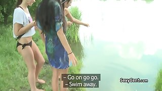 Three amateur lesbians fuck outdoors in the forest