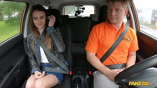 Undernourished teen Adelle Unicorn gets it at bottom with her driving instructor