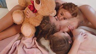 Elegant teens skit romantic in a superb lesbian triple