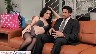 Luscious young wifey Valentina Nappi seduces old husband