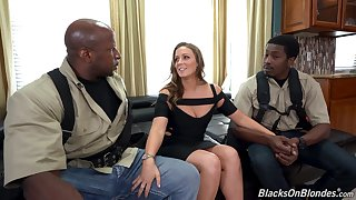 Two black guys fucks white chick with buxom ass Febby Twigs
