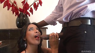 Menacing guy with a animal dick fucks juicy pussy of Anissa Kate