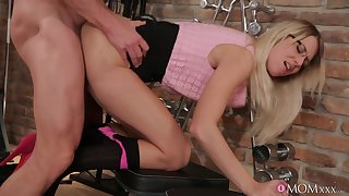 Impressive blonde Adrienne gives an older fitness dope-fiend chum around with annoy fuck of his galumph