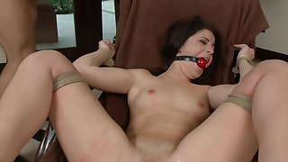 Chunky ass brunette gets gagged at the end of one's tether her kinky master