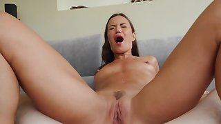 Canadian MILF nearby small tits enjoys anal fuck for rub-down the first time